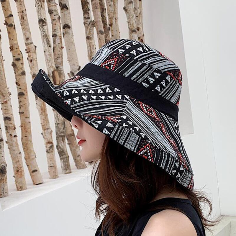 HTB1X4mHbsfrK1Rjy1Xdq6yemFXaJ - Double sided irregular Pattern Bucket Hat Women Summer Cotton Breathable Leisure Bob Caps Outdoor Sports Casual Dome Panama Cap