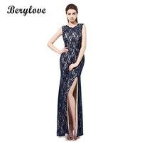 BeryLove Mermaid Lace Prom Dresses Long Open Back Navy Evening Dresses Split Real Photos Women Formal