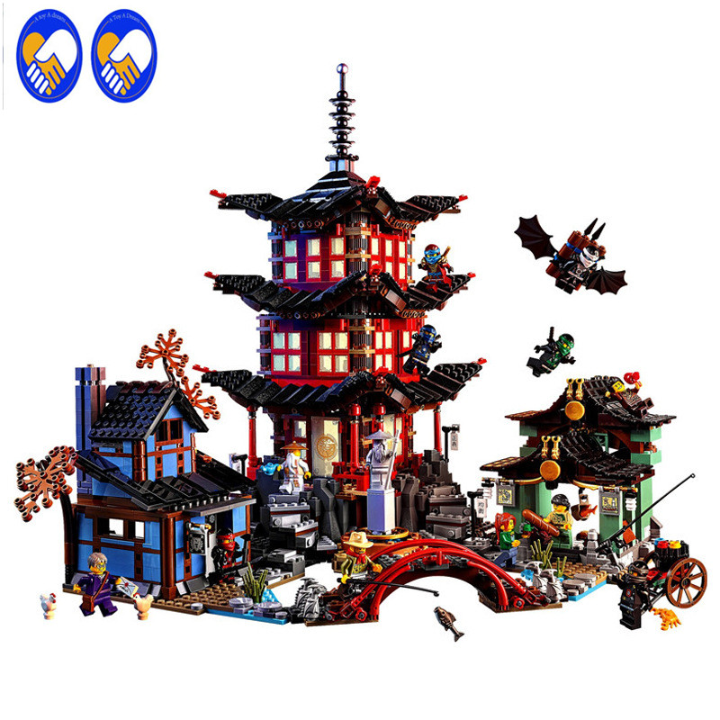 A Toy A Dream Ninja Temple of Airjitzu Ninjagoes Smaller Version Bozhi 737 pcs Blocks Set Compatible with LXgo Toys for Kids lepin ninja temple of airjitzu smaller version bozhi 737 pcs blocks set compatible with lepin toys for children building bricks