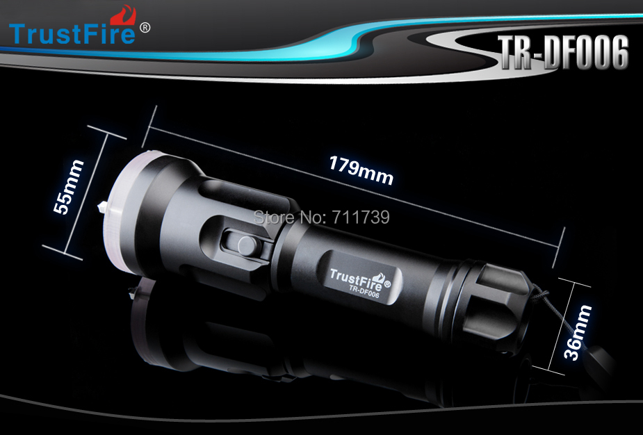 ФОТО TrustFire TR-DF006 Cree XM-L2 T6 650lm Stepless Adjusted Diving Flashlight