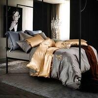 ファッション高級洗浄シルクポリエステル繊維寝具セットグレーライトゴールデン固体リネンクイーン/キングサイズシートセット掛け布団