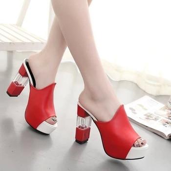 2019 été poisson bouche sandales nouveau fond épais était mince super talons chaussures coréennes