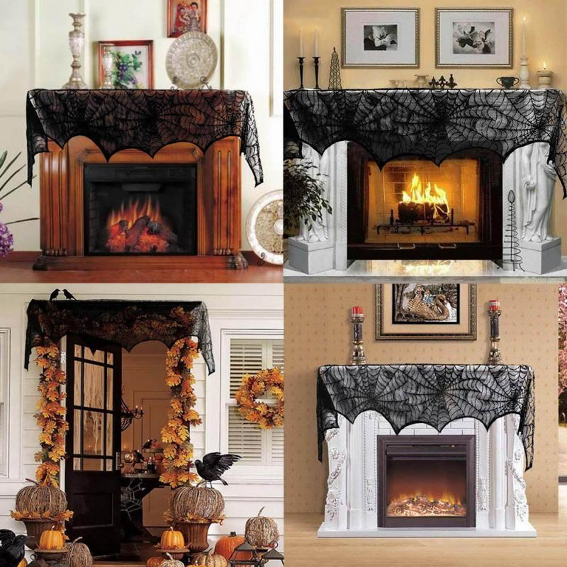 244cm halloween party supplies fireplace mantle scarf cover black lace spiderweb table cloth for halloween decoration - Halloween Fireplace