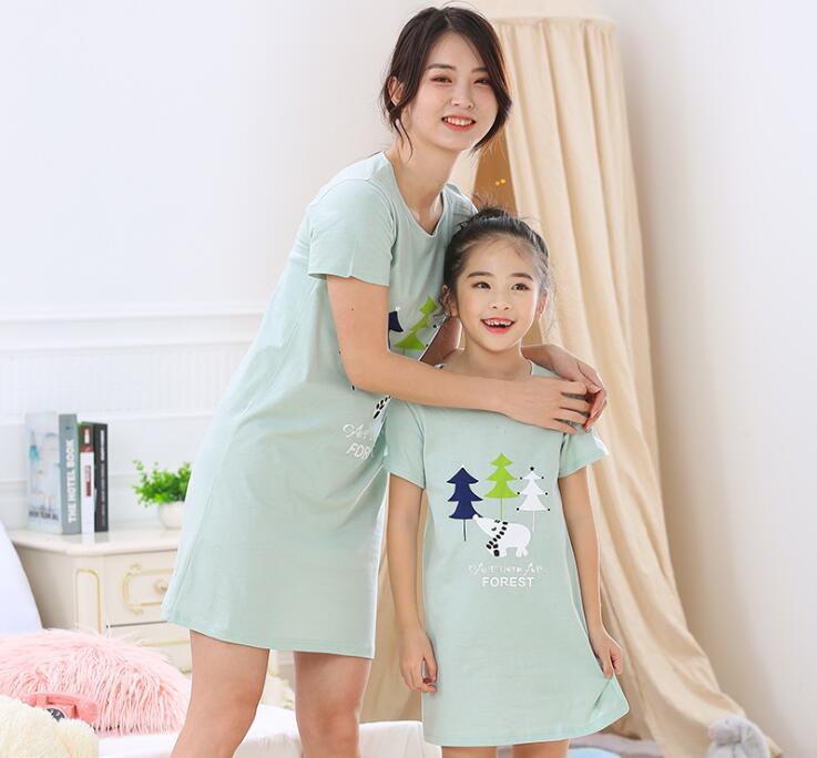2019 Summer Girls Nightdress Children Cotton Pajamas Big Children's Home Clothes Thin Baby Cartoon Short-sleeved Pajamas