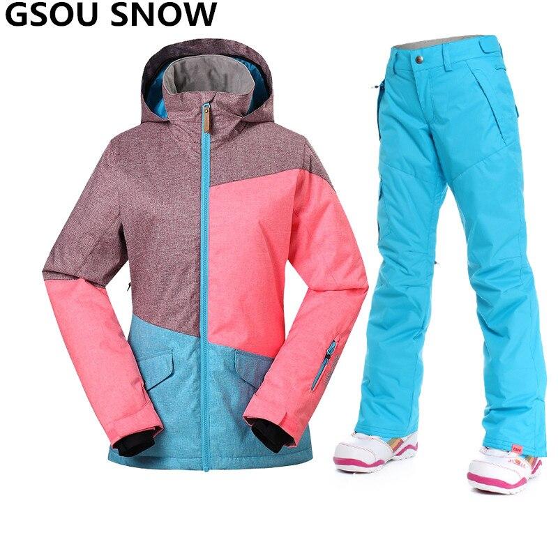Prix pour Gsou Neige D'hiver ski costume femmes Étanche 10000 épaissir chaud ski veste femmes en plein air snowboard pantalon + veste de ski Neige costumes