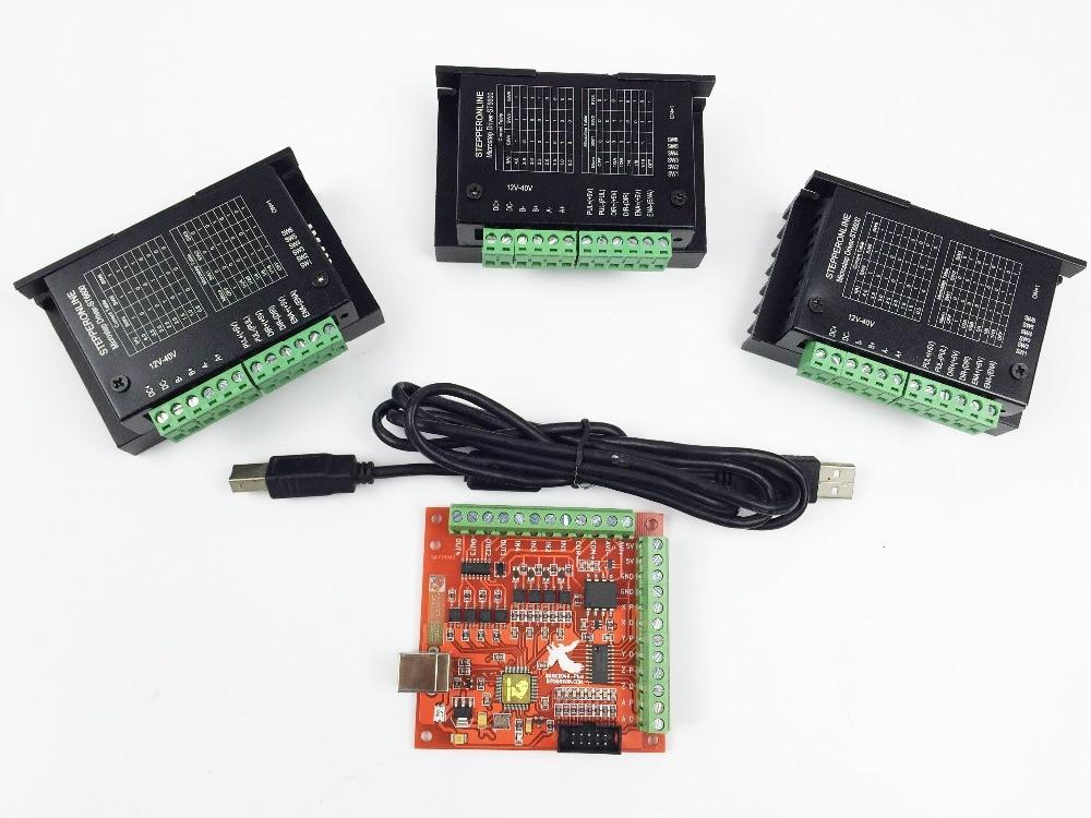CNC TB6600 mach3 usb 3 Axes Kit 3 pièces TB6600 1 Axe Conducteur + une mach3 4axis USB CNC Moteur pas à pas Contrôleur carte 100 KHz