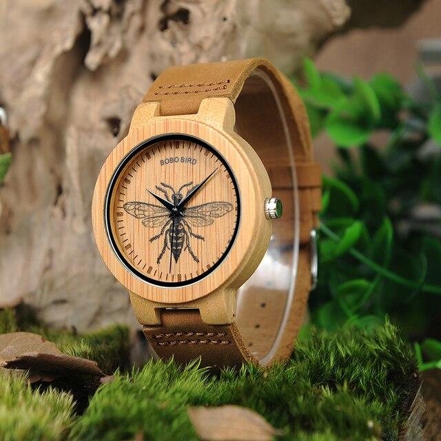 BOBO oiseau en bois montres hommes réaliste conception spéciale UV impression cadran visage bambou relogio masculino idéal cadeaux garde-temps C-P20 2