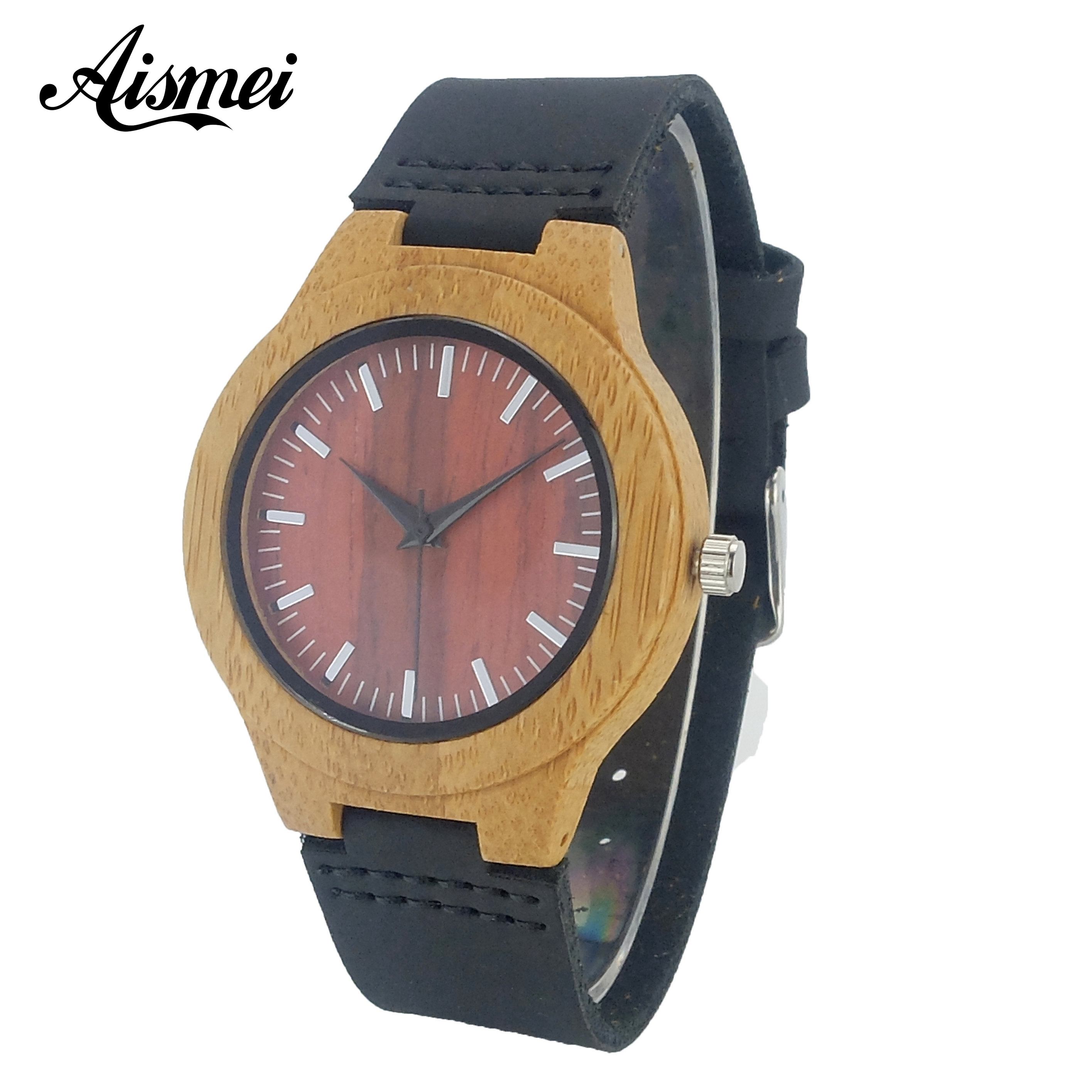 2017 Women Wood Watch Simple Design Fashion Analog Casual Bamboo Wrist Watch With Genuine Leather female Clock Reloj de madera fashion top gift item wood watches men s analog simple bmaboo hand made wrist watch male sports quartz watch reloj de madera