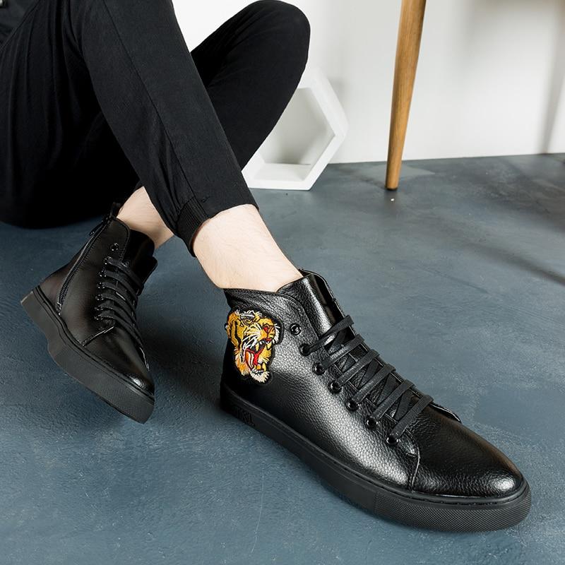 Hombre Cuero Planos Homme Chaussure Alta white Zapatos De Zapatillas Para Deporte Hombres Casuales Black Tigre Calidad red EC0q4UwnFx