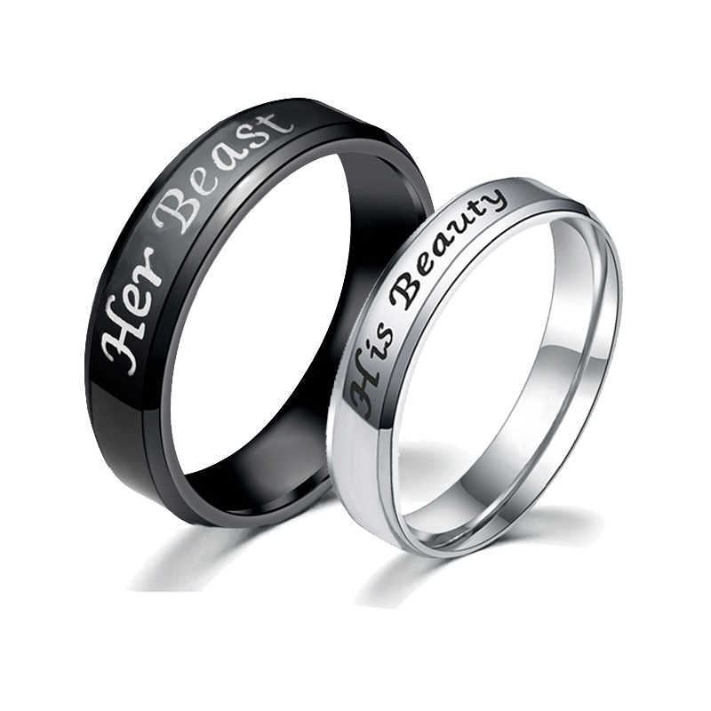 c61c91e6d4 My King My Queen Couple Ring Black Gold Beauty and the Beast Silver  Personality DIY Ring