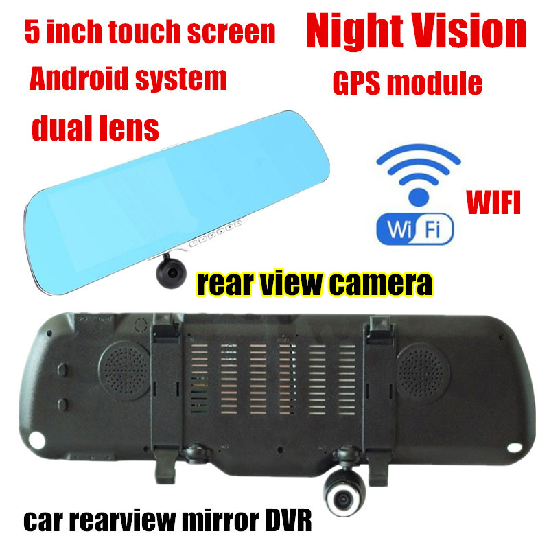 New 5.0 inch Car Rearview Mirror DVR Dual Lens with Rear view Camera for Android GPS front 140 back 120 degree viewing angle