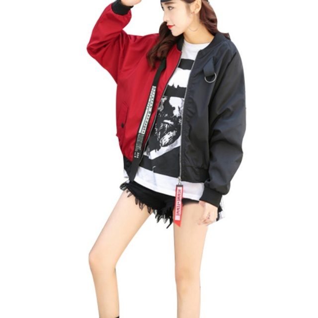 97cddfc19 US $6.96 16% OFF|Patchwork Casual Bomber Jacket Women Two Tone Patch Back  Autumn Jackets 2018 New Letter Ribbon Zip Up Jackets for Women-in Basic ...