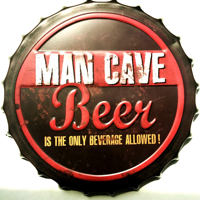 35cm Okrogel Man Cave Beer Steklenica Cap Tin Sign Bar pub home Wall - Dekor za dom - Fotografija 4
