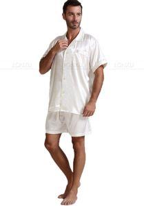 Image 5 - Męska jedwabna satynowa piżama piżama piżama krótki komplet bielizna nocna Loungewear U.S.S, M, L, XL, 2XL, 3XL, 4XL Solid _ _ 6 kolorów