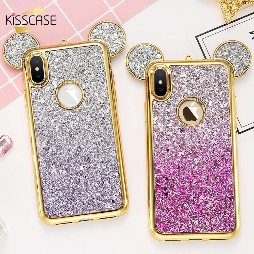 premium selection 0f3e7 79dd4 Mickey Mouse Phone Cases For Samsung S8 S7 Edge S6 Shell Glitter Silicon  Cover Iphone 6 6S 7 8 Plus 5 SE Coque
