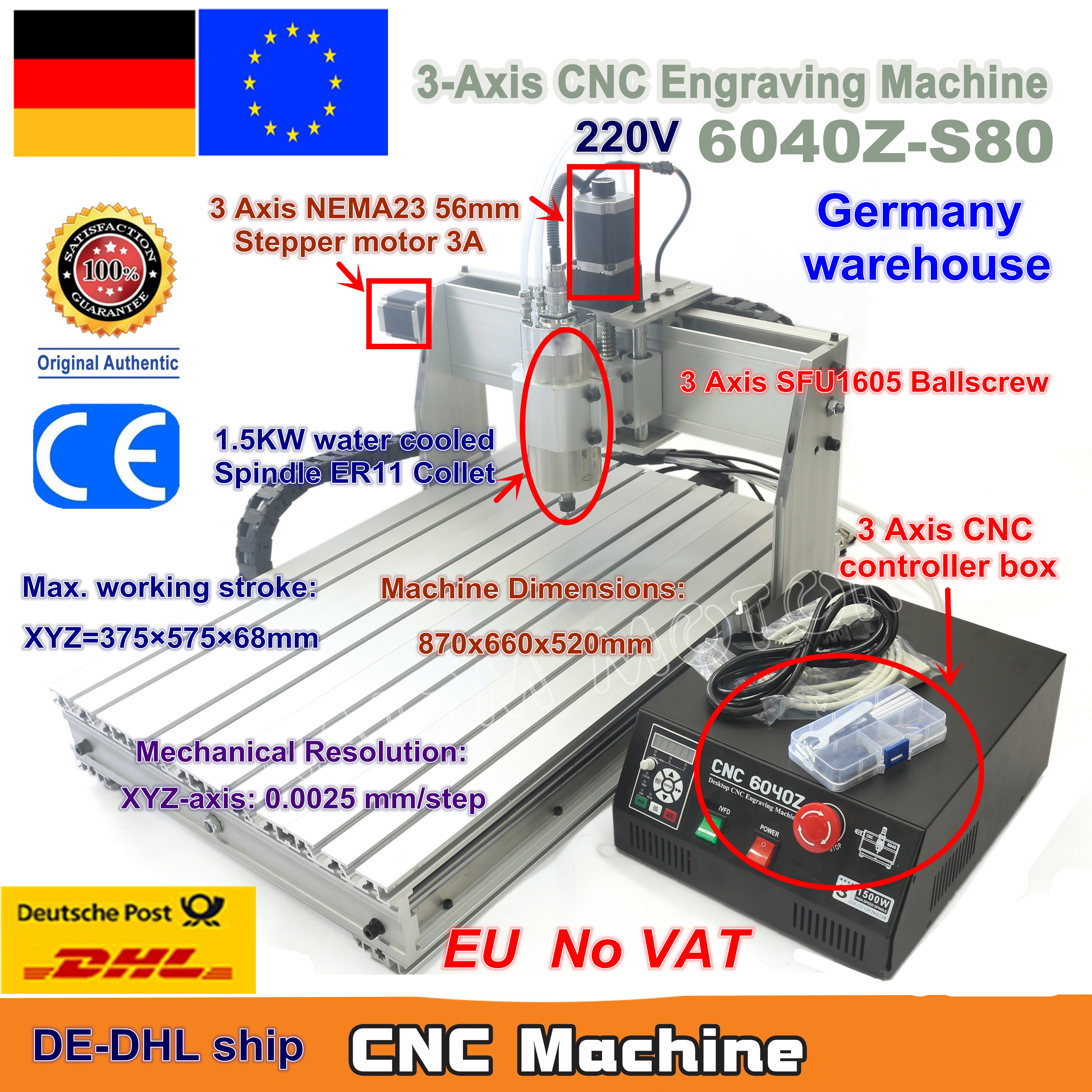 EU Ship free VAT 3 Axis 6040Z-S80 1.5KW 1500W Mach3 CNC Router Engraver Engraving Milling Cutting Machine 220VAC LPT portEU Ship free VAT 3 Axis 6040Z-S80 1.5KW 1500W Mach3 CNC Router Engraver Engraving Milling Cutting Machine 220VAC LPT port