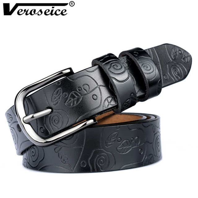 [Veroseice] Drop Shipping New Designer Genuine Leather Women Belt cummerbunds Belts Women Cow Leather Flower Strap Waist Belt