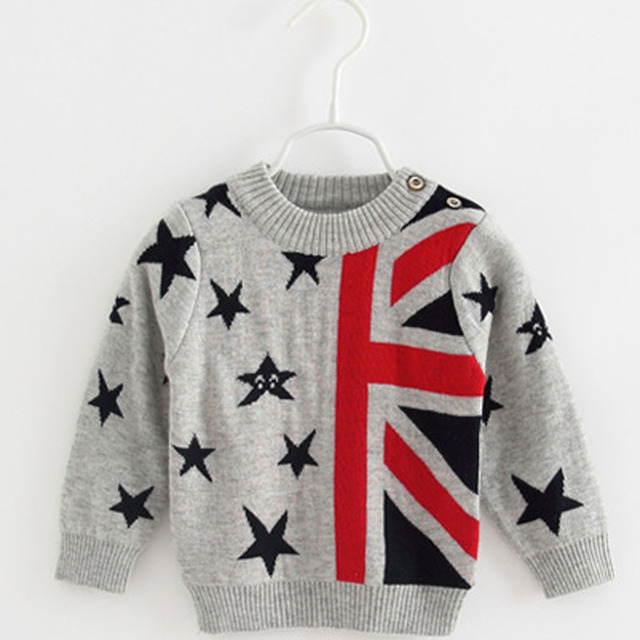 d0f31e4545b5 Baby British Flag Woolen Sweater 2018 Autumn Winter Baby Girls ...