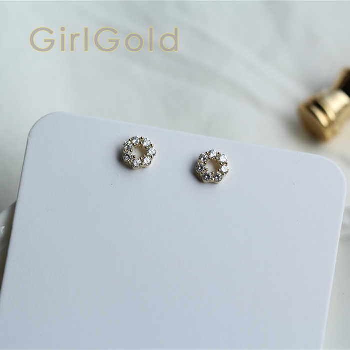 9K solid gold  flower unique crystal stud earring Mini dainty women minimal simple style gift bridesmaid