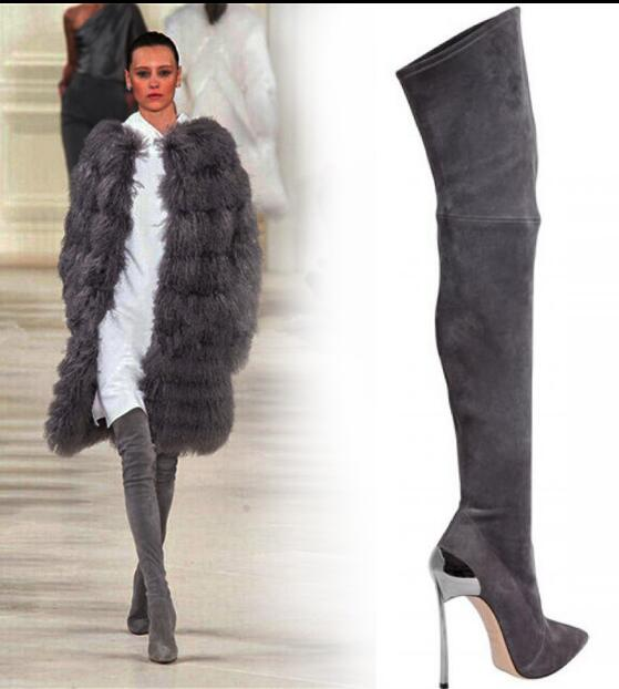 Overknee As Heel Sexy Winter Thigh Frauen Stiefel Lange Color 43 Color Stretch Größe Spike Frau Spitzschuh as High Showed wqR8IIX6