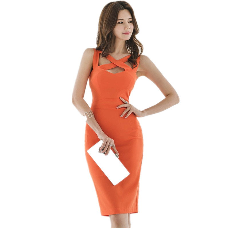 2018 Summer Sheath Dress Formal Women Korean High Quality Orange Sexy V Neck Hollow Out Bodycon Slim Vest Party Dress