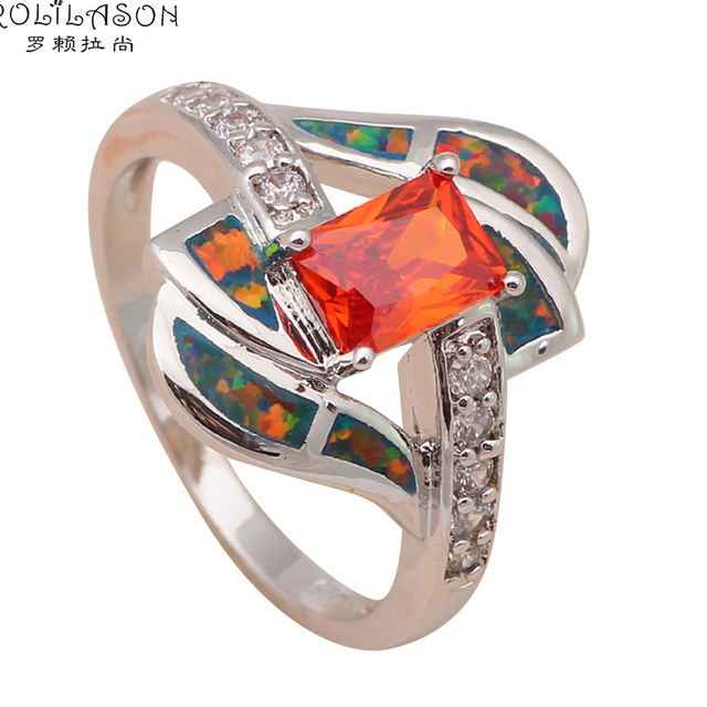 Orange fire opal ring 3