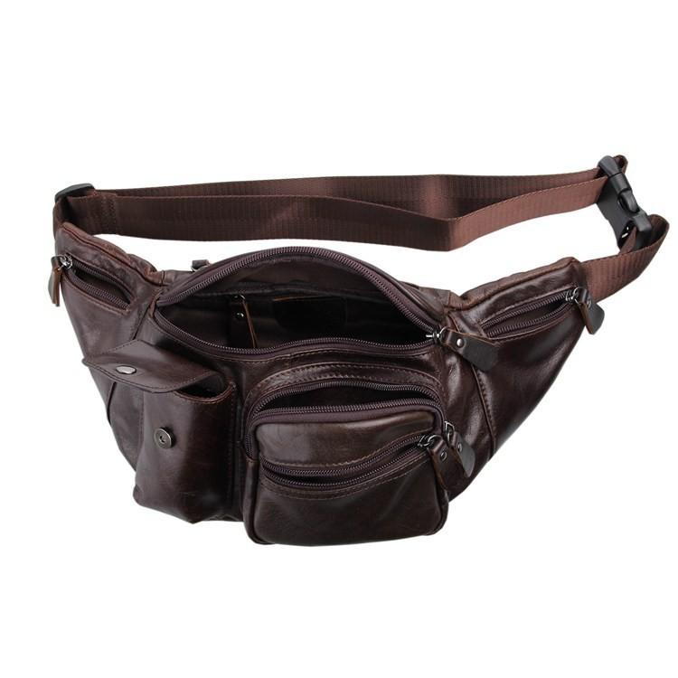 Vintage genuine leather waist packs fanny pack Fashion men small travel bag Pocket sports waist wallet  for men Free shipping (7)