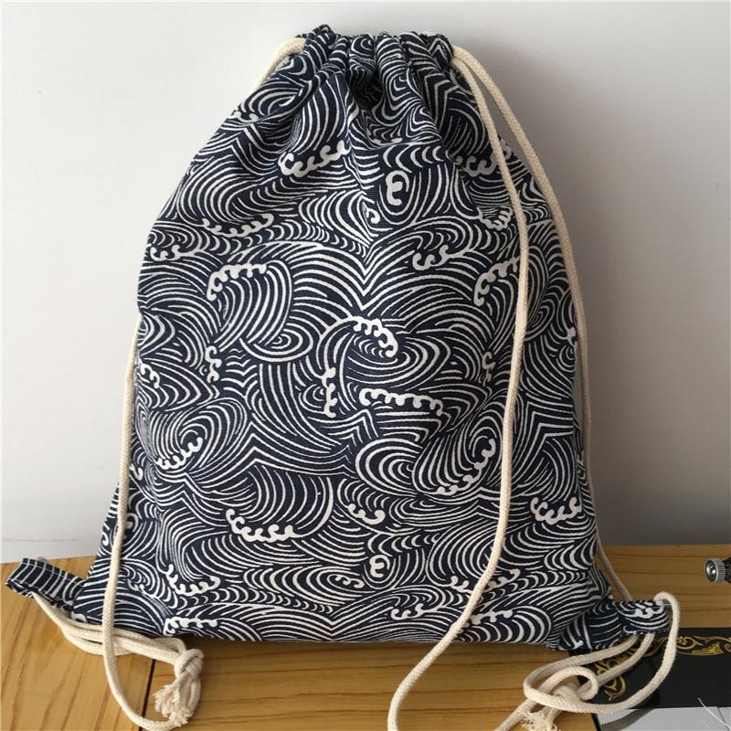 YILE Cotton Linen Drawstring Travel Backpack Shoes Sorted Bag Student Book Bag Wave 1013-3