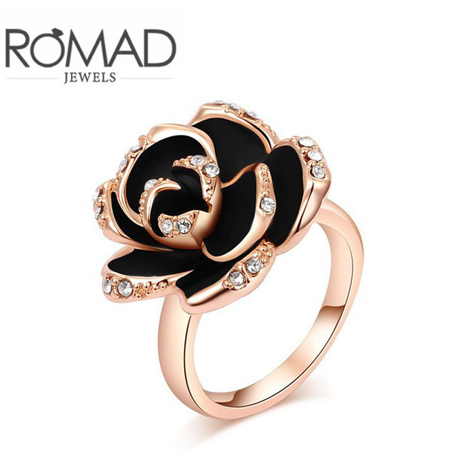 ROMAD Brand Black Rose Shaped Exquisite Rose Gold Color Finger Engagement  Rings For Women Wedding Rings
