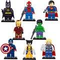 8 pçs/set The Avengers Marvel DC Super Heroes Série Montagem Ação Mini figuras Brinquedos Batman homem-Aranha Homem de ferro Superman Cap