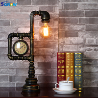 SGROW Loft Industrial Retro Desk Lamp Iron Pipe Table Lamp E27 Edison Bulb Lights for Bedroom Creative Design Watch Desk Lights