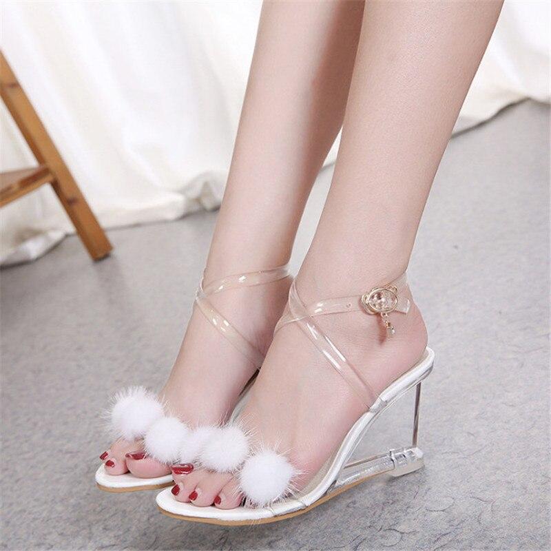 Transparent Chaussures D'été Femmes Sandales Mode Croix Liée Wedge Sandales Clair Talon Avec Fourrure Confortable Haute Talons Pompes