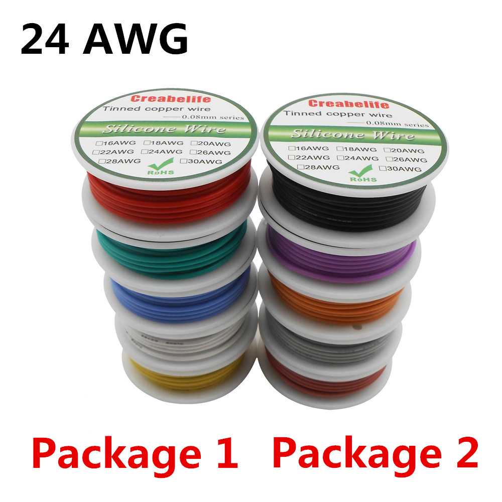 30m 24 AWG Flexible Silicone Wire RC Cable Line With 5 Colors Spool Package 1 or Package 2 Tinnned Copper Wire Electrical Wire