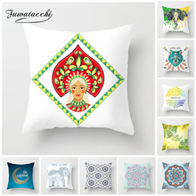 Fuwatacchi Indian Style Animals Cushion Cover Mandala Moon Pillow Case Home Decorative White Pillows For Sofa Car Seat
