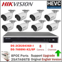 Hikvision Outdoor Security Camera Kits DS 2CD2043G0 I 4MP Bullet CCTV IP Camera PoE Onvif WDR Surveillance System