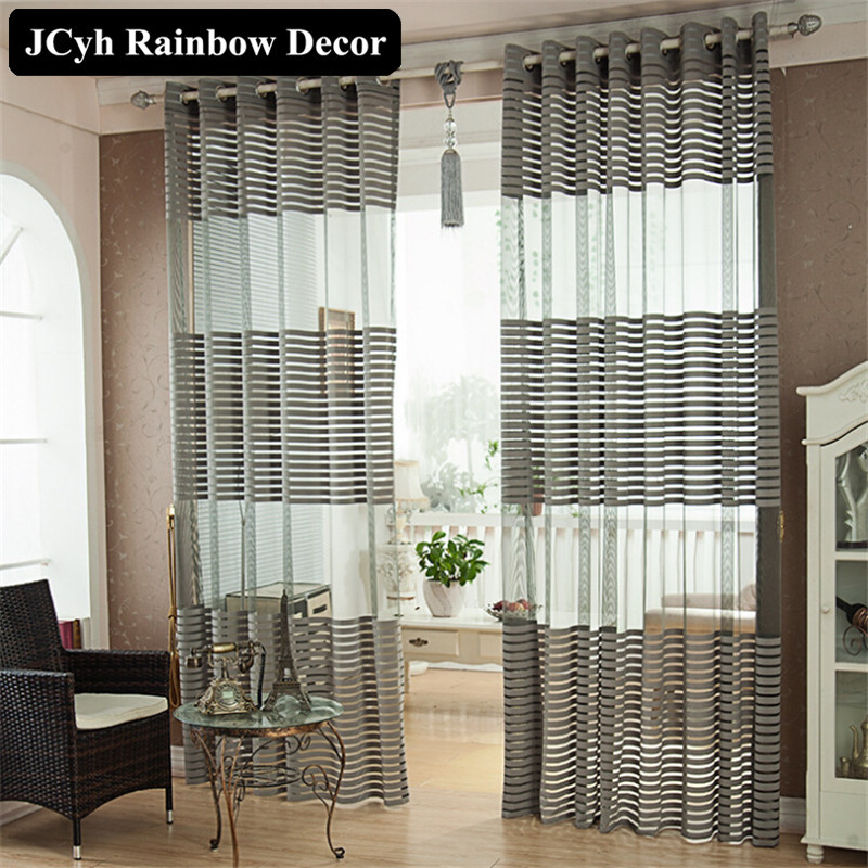 Modern Home Solid Striped Tulle Curtains For Living Room