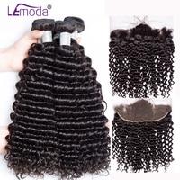 Lemoda Malaysian Curly Hair Bundles With Frontal Closure Human Hair Bundles With Frontal Closure Remy Hair Frontal With Bundles