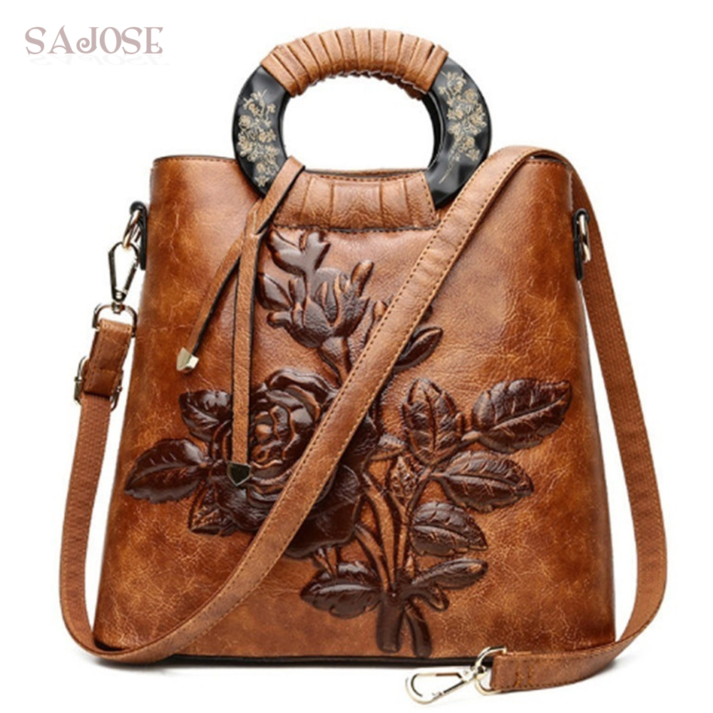 Casual Tote Bags Handbags Chinese Style Embossing Women Leather Shoulder Bag Lady Floral Vintage High Quality Messenger Female