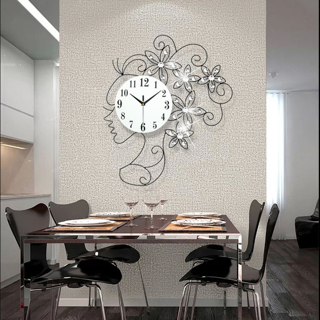 Horloge De Salon Mural Design A Pile : Kreatywne dziewczyna luksusowy zestaw ślimak duży zegar