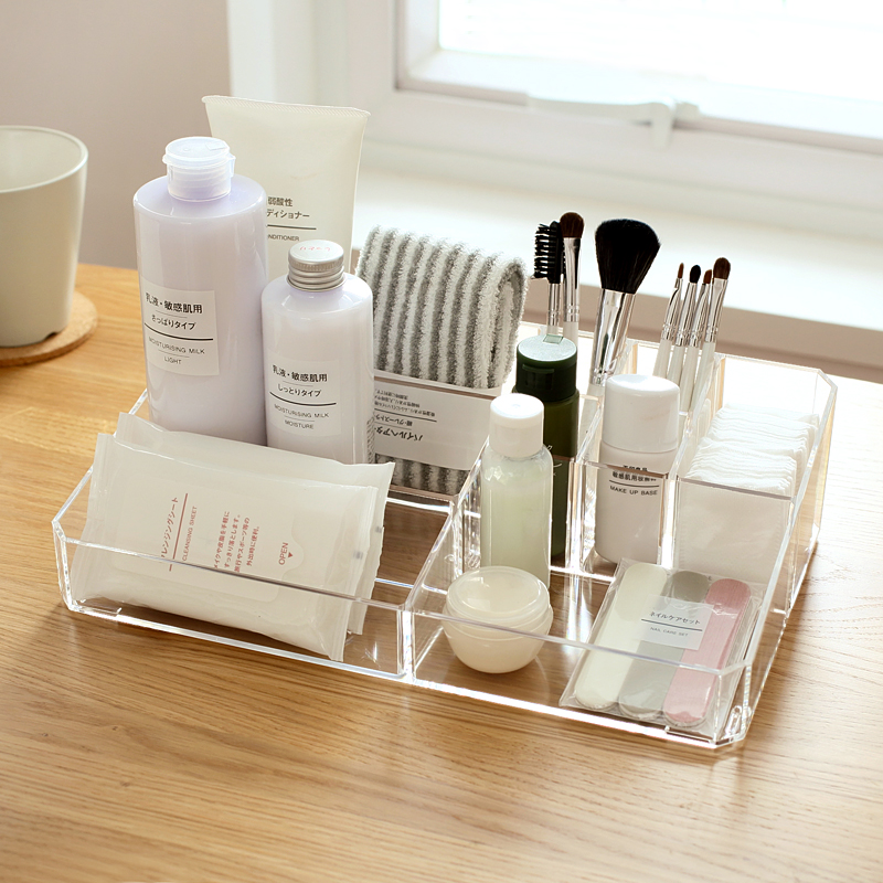 Solid Color Transparent Acrylic Makeup Organizer Desktop Plastic Storage Box Organizer For Cosmetics and Office Desk Organizer