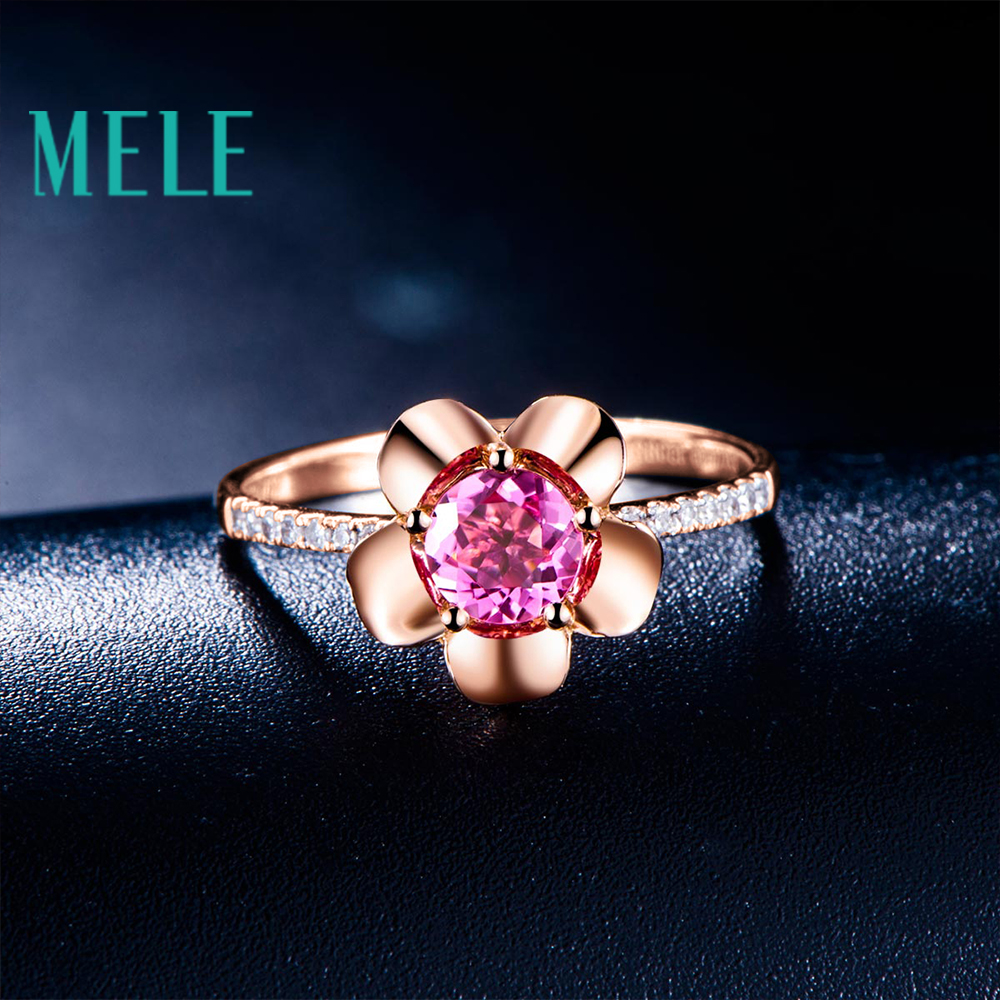Natural red rubellite 18K gold ring wiht diamonds women and girl flower shape fashion and beaut wiht high quality недорго, оригинальная цена