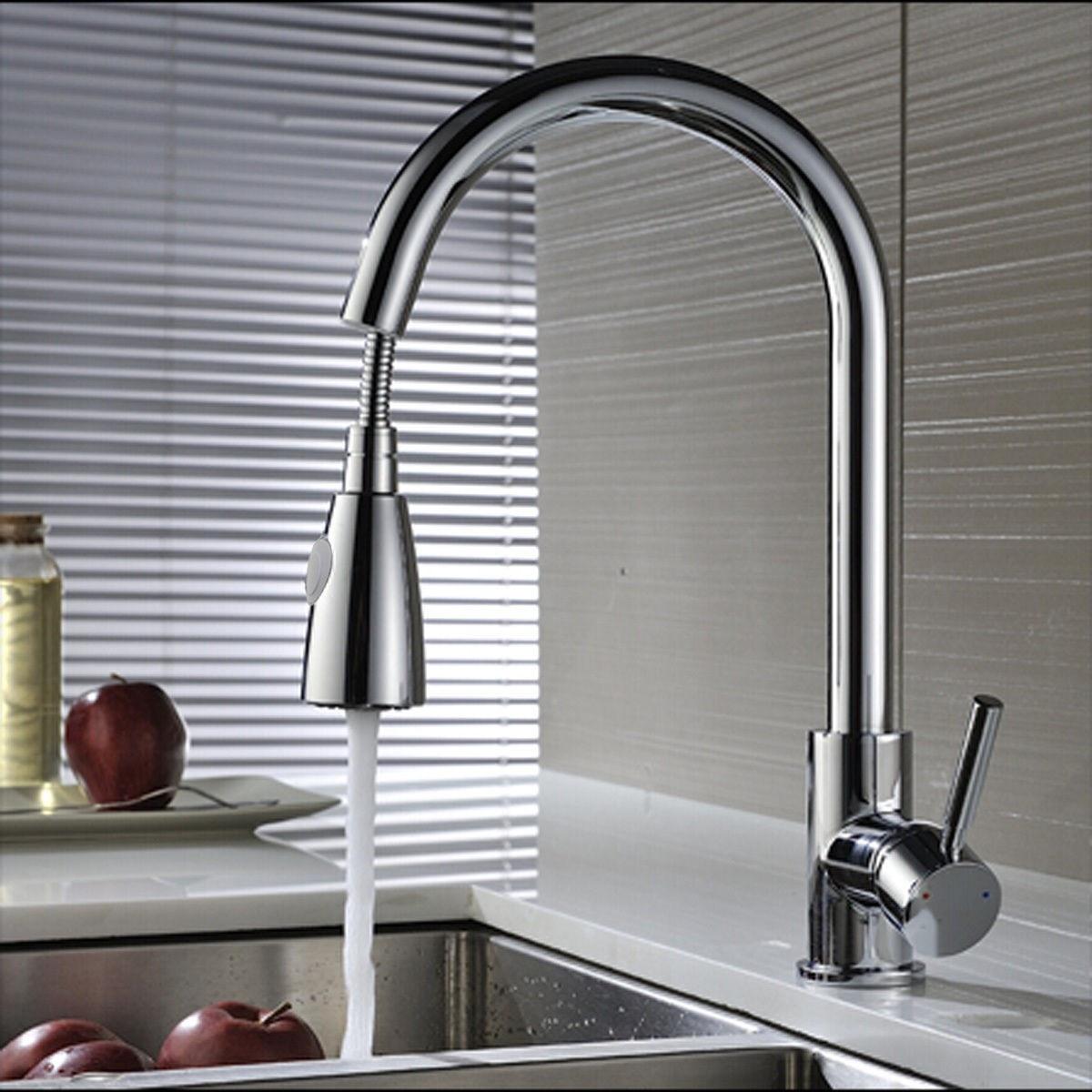 Modren Pull Out Kitchen Spray Mixer Tap Basin Sink Faucet 360Rotation Copper Chrome Mixing Faucet With 2 Inlet Cold And HotModren Pull Out Kitchen Spray Mixer Tap Basin Sink Faucet 360Rotation Copper Chrome Mixing Faucet With 2 Inlet Cold And Hot