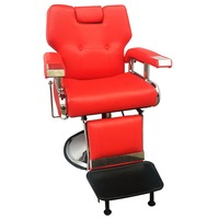 Shellhard Adjustable Reclining Hydraulic Barber Chair Shampoo Spa Beauty Salon Chair Equipment Set Red