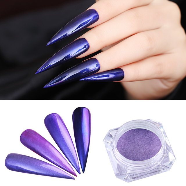 Purple Mermaid Pearl Nail Glitter Mirror Manicure Nail Art Chrome ...