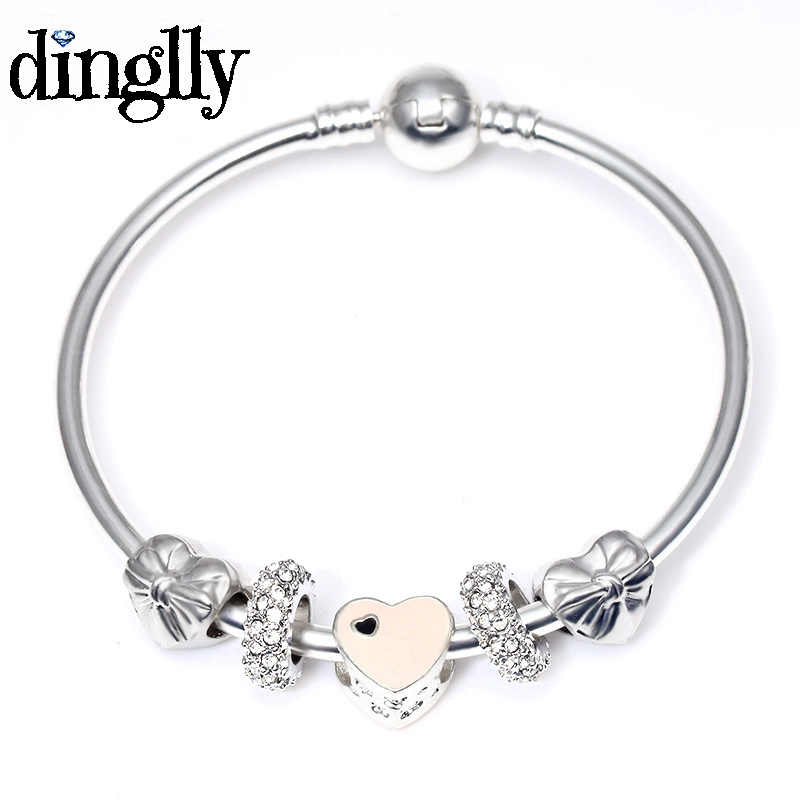 DINGLLY Pink Heart Charm Bracelets & Bangles With Bowknot Silver Beads Bracelet For Women Men Couples Lover Friendship Bangle