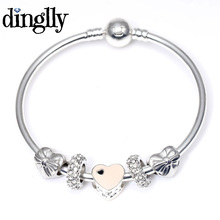 DINGLLY Pink Heart Charm Bracelets & Bangles With Bowknot Beads Europe Style Pan