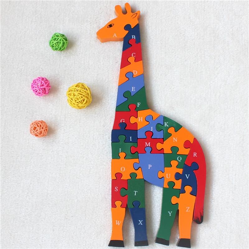 Деревянные развивающие игрушки животных Жираф Модель английские буквы деревянные головоломки Best подарки для детей