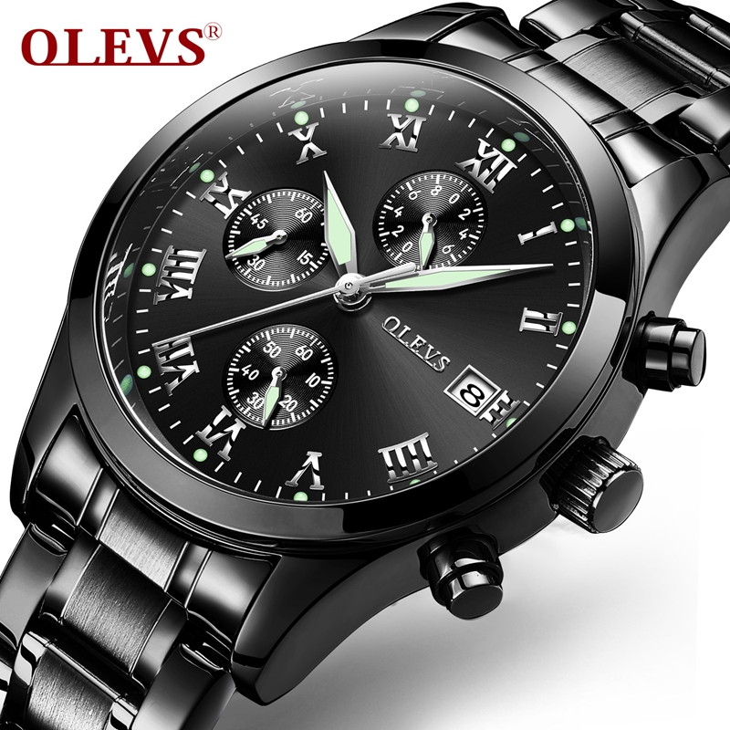 Luminous Watch OLEVS Brand Chronograph Man Wrist Watch Quartz Steel Watches Black Auto Date Water Resistant Sport Men Wristwatch mike water resistant silver resin glass dial steel alloy quartz analog wrist watch for men black