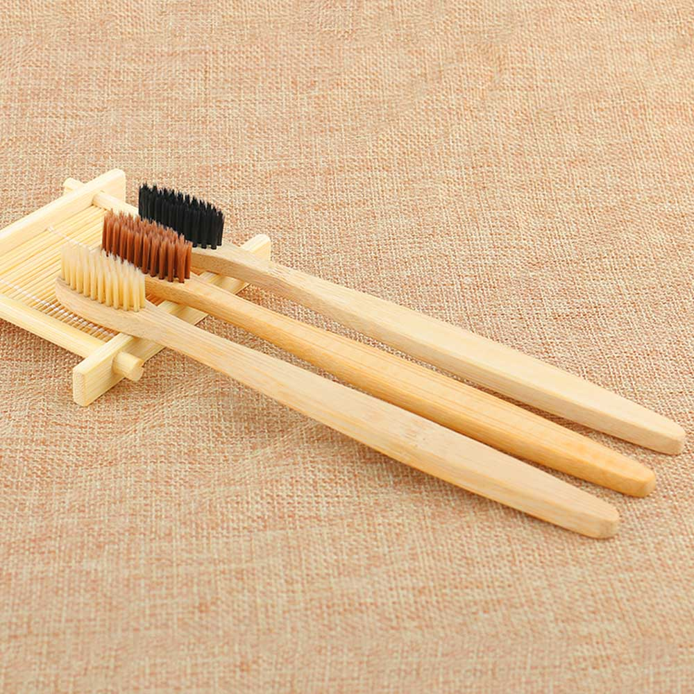1PC Environmental Bamboo Charcoal Toothbrush For Oral Health Cleaning Low Carbon Medium Soft Bristle Wood Handle Toothbrush