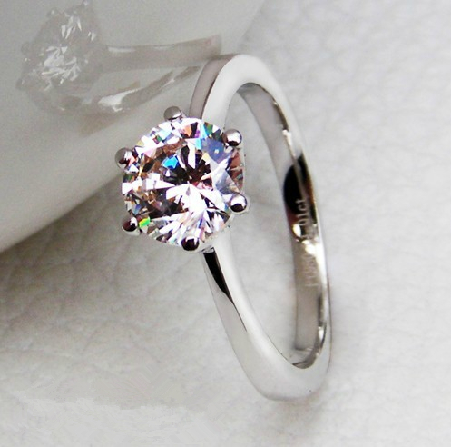 crowned 10ct luxury wedding ring for women 925 sterling silver engagement ring for her white gold color in rings from jewelry accessories on - Silver Wedding Rings For Her
